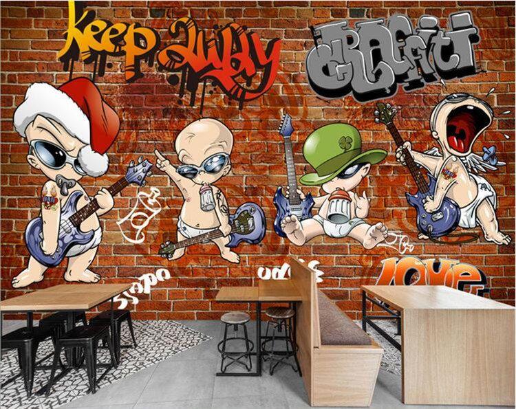 3d Brick Wallpaper For Walls 3d Abstract European Graffiti Photo Mural Vintage