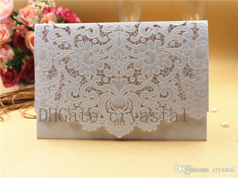 2018 New Arrival Horizontal Laser Cut Wedding Invitation with White