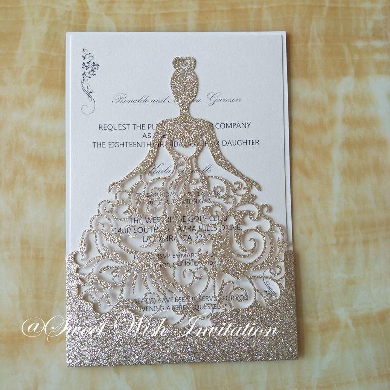 Luxury Laser Cut Glitter Wedding Invitations Elegant Rose Gold