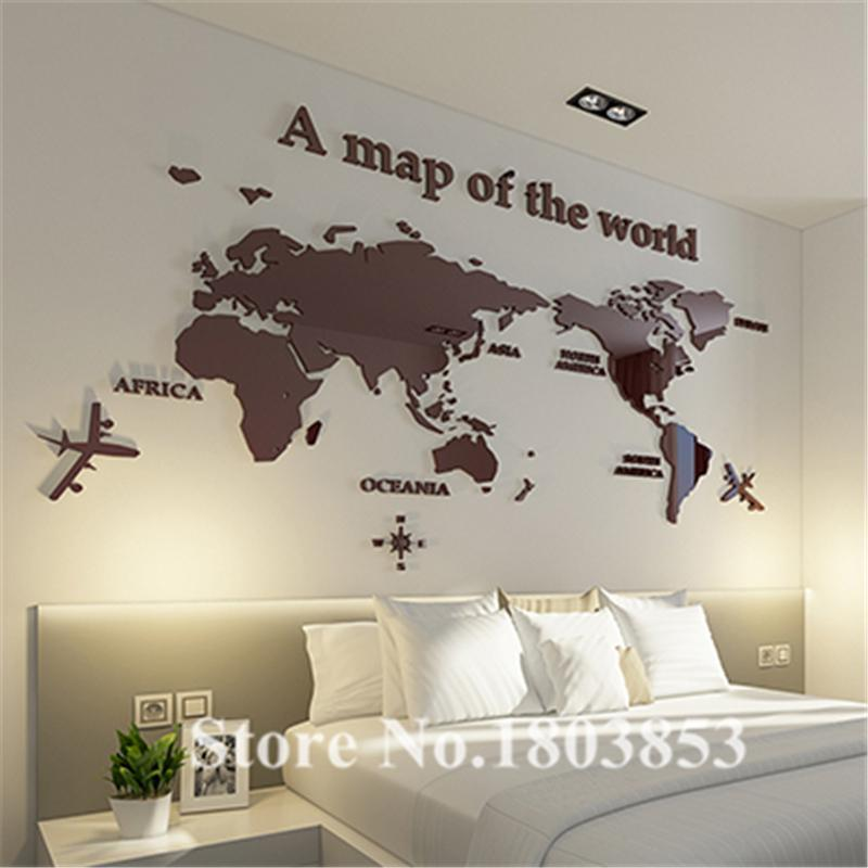 Hot! World Map 3D Crystal Acrylic Wall Stickers Office Living Room