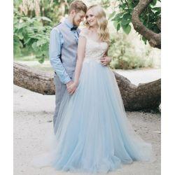Splendent Discount Lace Blue Tulle Wedding Dress Off Shoulder Heartneckline Sheer Bridal Gown V Backless Country Style Rustic Dressesa Line Discount Lace Blue Tulle Wedding Dress Off Shoulder