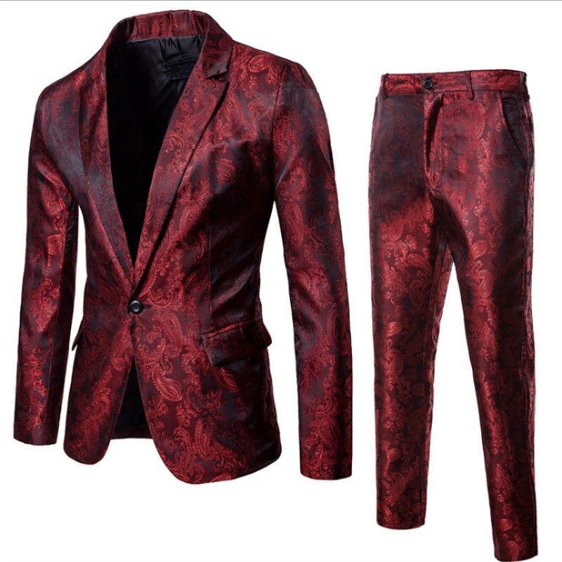 2019 Fashion Wine Red Nightclub Paisley Suit Jacket+Pants Men Single