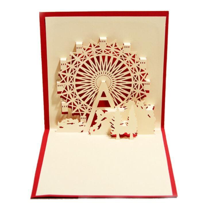3D Pop Up Postcard Birthday Christmas New Year Folding Card For