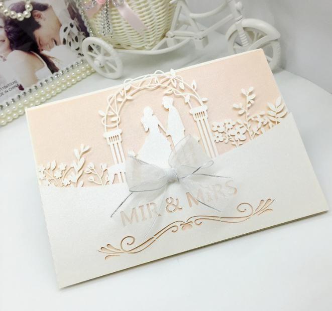 2018 New Bride  Groom Wedding Party Invitation Cards Laser Cut