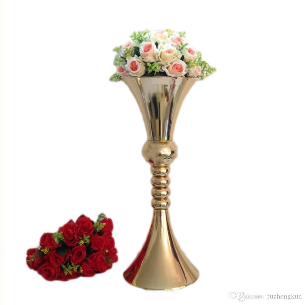 Vase Gold 65cm Height Flower Vase Gold Metal Candle Holder Candle Stand Wedding Centerpiece Event Party Road Lead Home Decor 10 Pcs Lot