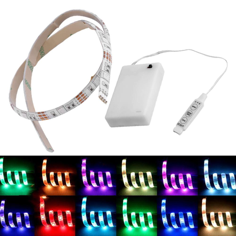 12v Led Strip Light 4 5v Battery Operated 50cm Rgb Led Strip Light Waterproof Craft Hobby Light Hot Selling With Battery Box