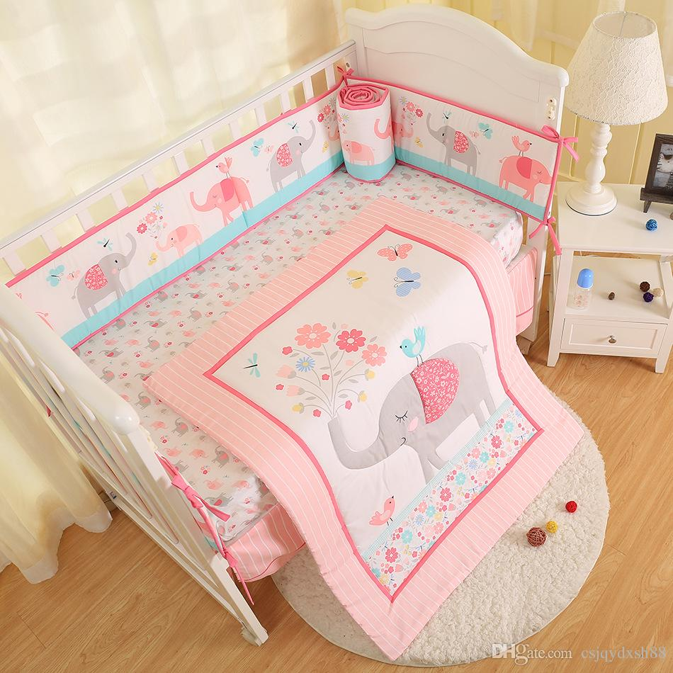 Full Crib Bedding Sets New Arrival 7pcs Newborn Crib Bedding Set Elephant Baby Bedding Set For Girl Baby Bed Sets Cuna Quilt Bumper Bed Skirt Fitted