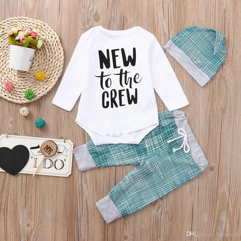 Cheap Baby Clothes Au New Cute Children Clothing Set Striped Letter Print Tops Pants Hat Casual Set Clothes Baby Clothes Ropa Recien Nacido