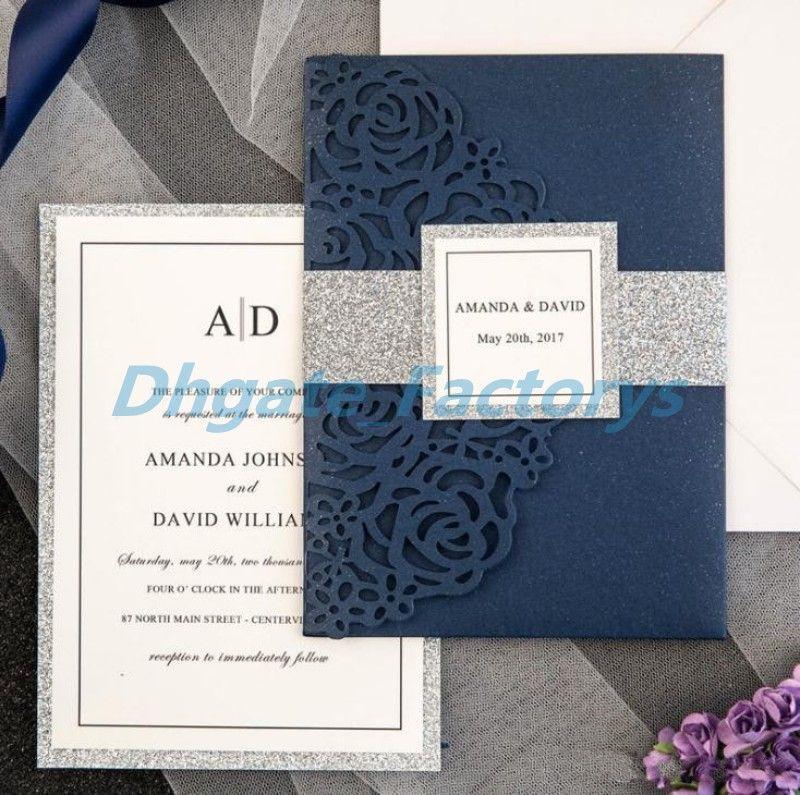 Navy Blue Laser Cut Luxury Tri Folded Wedding Invitation Cards