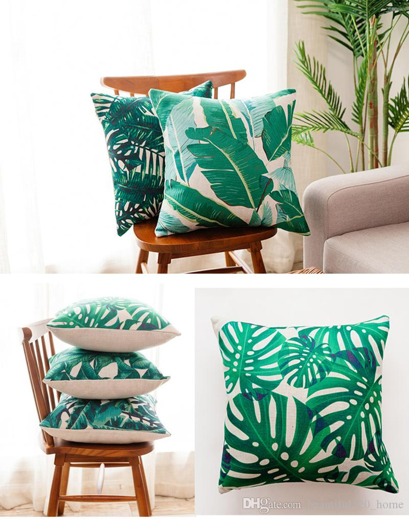 High Quality Sofa Pillows Ins Hottest Throw Pillows Leaf Printed Thick Linen Cushion Covers High Quality Pillow Insert Two Piece Decorative Pillows Bh19005