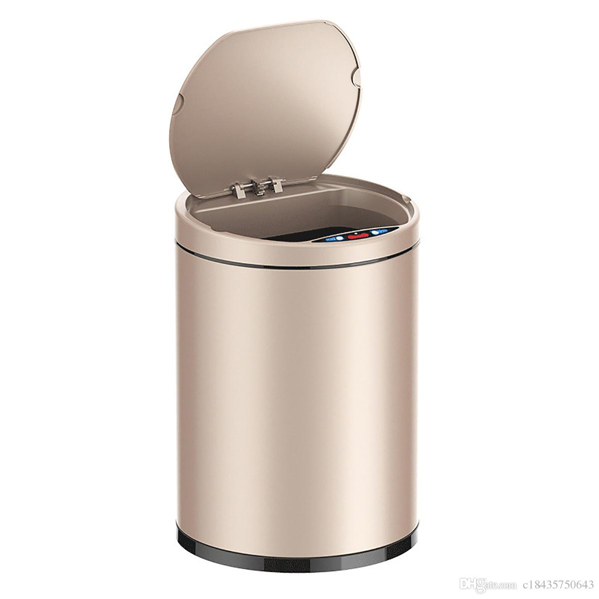 Small Kitchen Trash Cans Small Automatic Trash Can Touchless Intelligent Induction Garbage Bin With Inner Bucket Contactless Circulator Quiet Lid Close Can Rose Gold