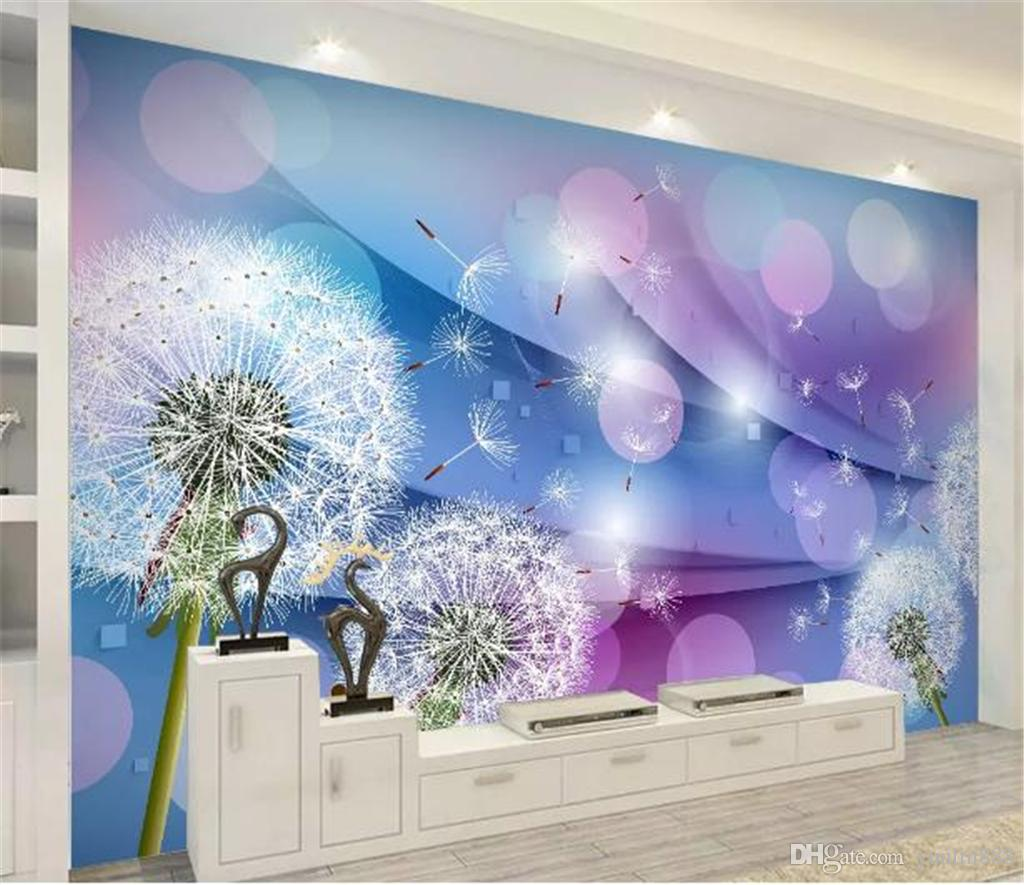 Decoration 3d Murale Custom Any Size Mural Wallpaper Warm Romantic Dandelion 3d Living Room Indoor Tv Background Wall Decoration Mural Wallpaper