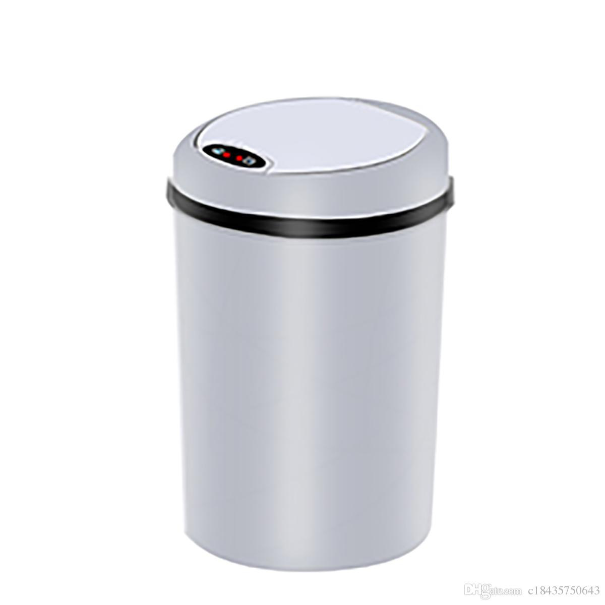 Small White Trash Can With Lid Small Automatic Trash Can Touchless Intelligent Induction Garbage Bin With Inner Bucket Contactless Circulator Quiet Lid Close Can