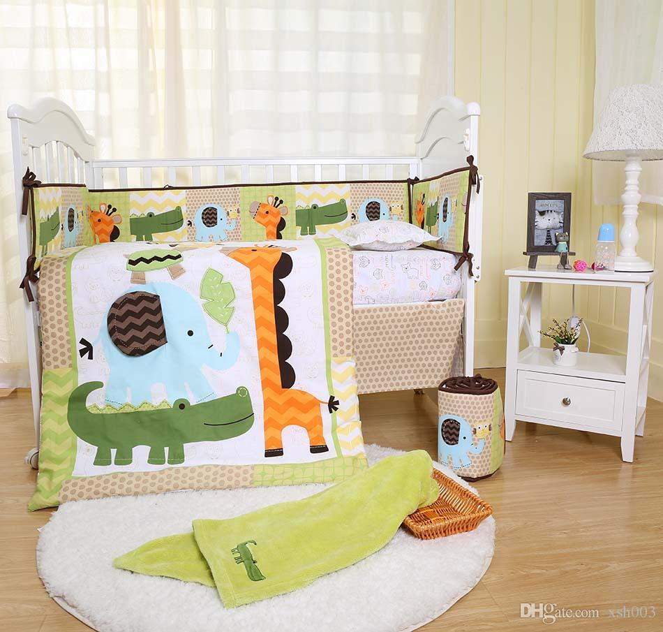 Full Crib Bedding Sets Crib Bedding Set 10pcs Cot Bedding Set For Baby Embroidery 3d Giraffe Elephant Crocodile Tortoise Baby Bedding Set Quilt Bumper Blanket