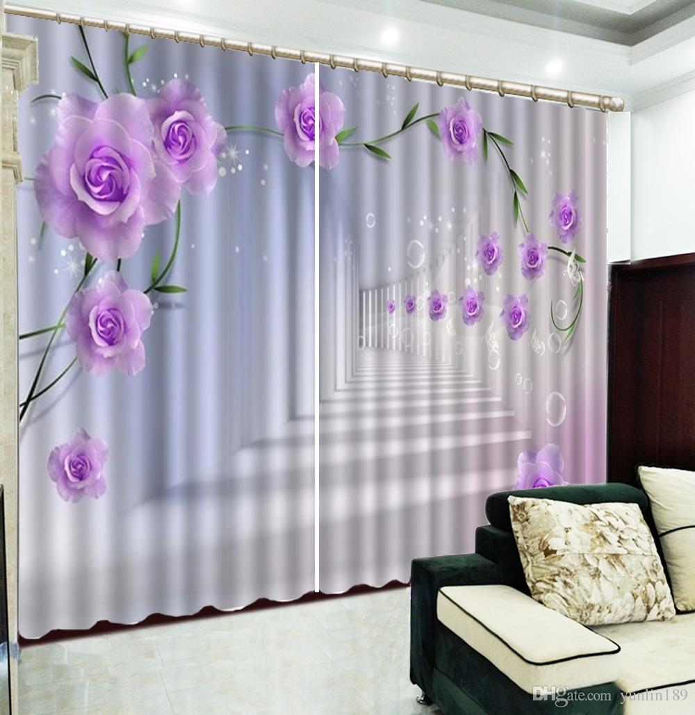 Pink Living Room Curtains Custom 3d Curtain Pink Rosetime Tunnel Living Room Bedroom Beautiful Practical Curtains