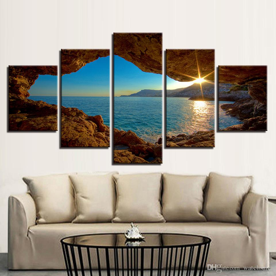 Arte Rupestre Maos Em Negativo Canvas Hd Prints Pôsteres Wall Art Framework 5 Peças Mundo Pinturas Rupestres Pôr Do Sol Seascape Fotos Home Decor Kids Room