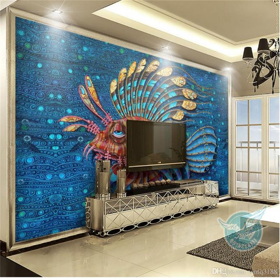 Peacock Living Room Custom Size 3d Photo Wallpaper Living Room Mural Hand Painted Tropical Peacock Picture Sofa Tv Background Wall Wallpaper Non Woven Sticker