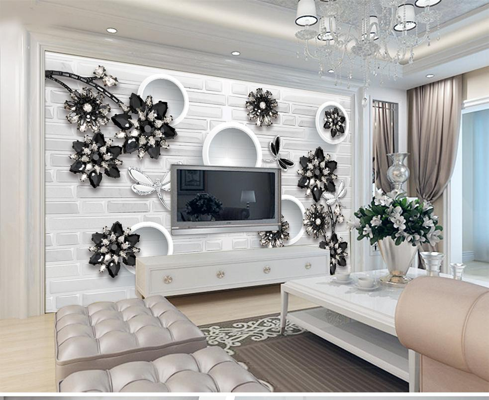 White Decoration Bedroom Custom Wallpaper 3d Black And White Classic Butterfly Love Flower Jewelry Living Room Bedroom Background Wall Decoration Wallpaper
