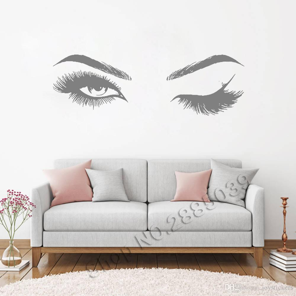 Salon Décoration Beautiful Eyes Eyelashes Wall Stickers Makeup Girls Eyes Eyebrows Wall Decor Beauty Salon Style Home Decoration Livingroom
