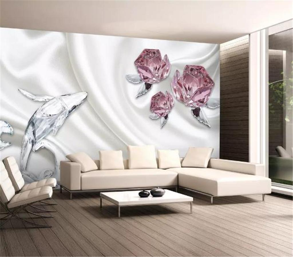 Wall Decoration Murale Custom Any Size 3d Wallpaper3d Modern Minimalist Crystal Rose Dolphin Mural Indoor Tv Background Wall Decoration Mural Wallpaper
