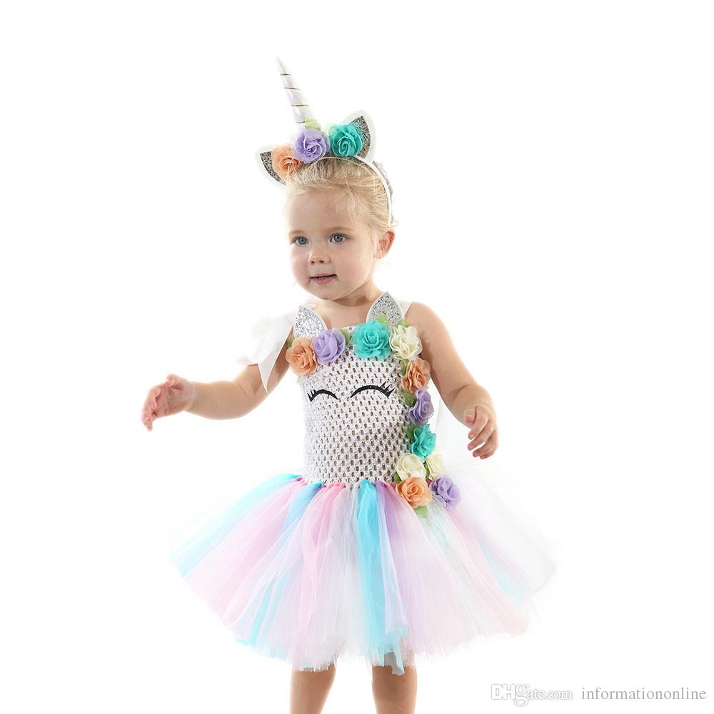 Einhorn Kostüm Mädchen Einhorn Kostüm Tutu Kleider Regenbogen Mädchen Kleider Kinder Designer Kleidung Girlsbirthday Party Dress Stirnbänder Prinzessin Dress Kleidung
