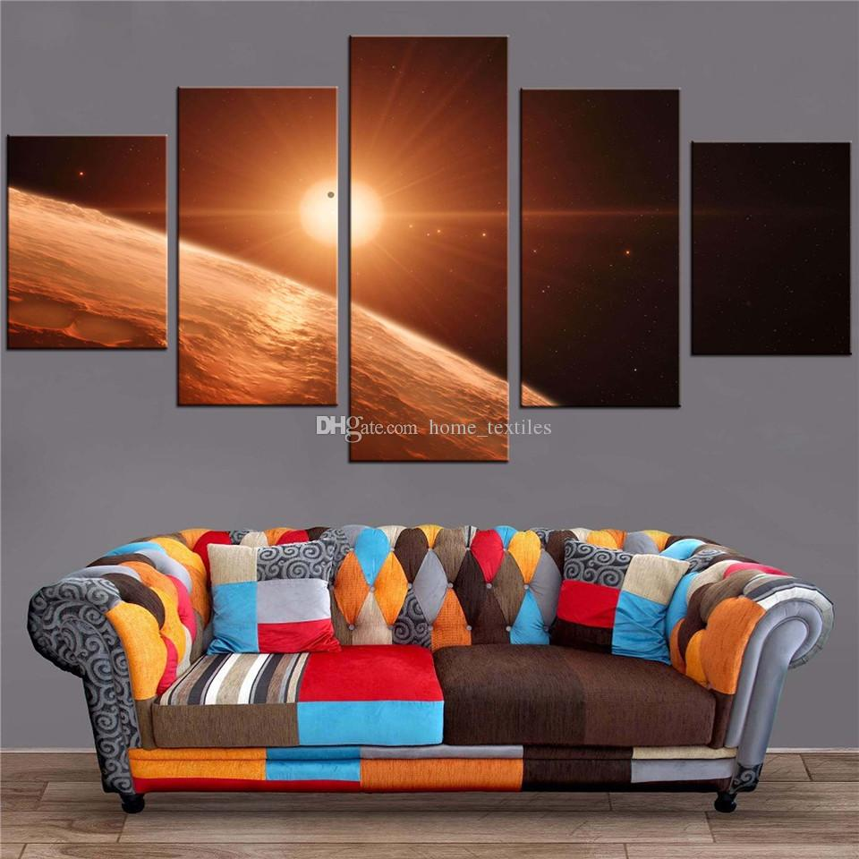 Planets Wall Art 5 Panels Psychedelic Earth Planets Artwork Frame Hd Prints On Canvas Wall Art Painting Oil Painting Wall Decor With For Kids Room