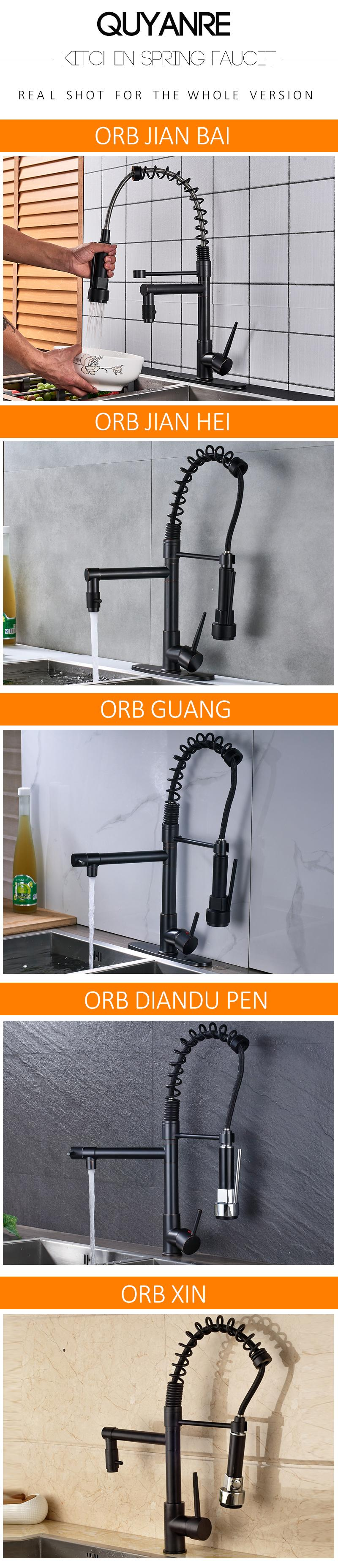 Küchenarmatur Real Blackend Spring Kitchen Faucet Pull Out Side Sprayer Dual Spout Single Handle Mixer Tap Sink Faucet 360 Rotation Kitchen Faucets