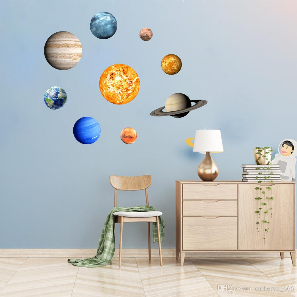 Boys Room Walls Kids Room Wall Stickers Glow In The Dark Planet Solar System Sun Earth Glowing Planets Ceiling Nursery Bedroom Wallpaper For Boys And Girls