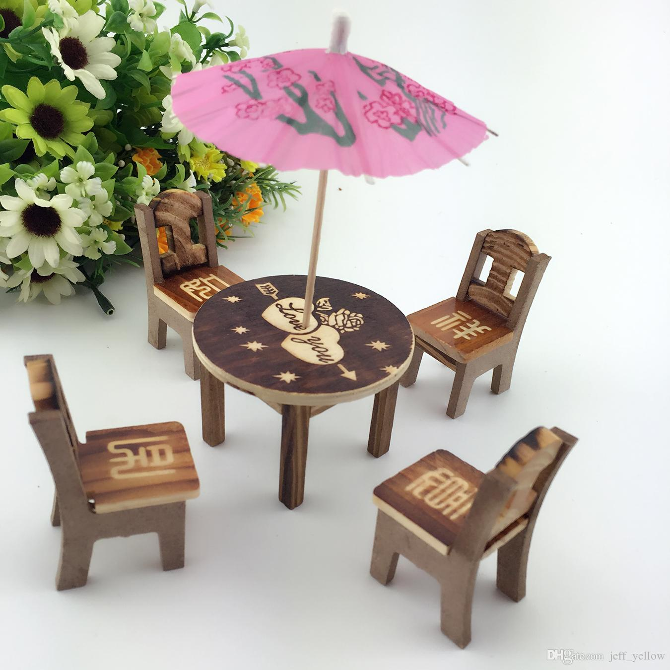 Childrens Wooden Table And Chairs Free Shipping Eight Immortals Table Baby Wooden Table And Chair Children S Simulation Toy House Wooden Chair Model Mini Set