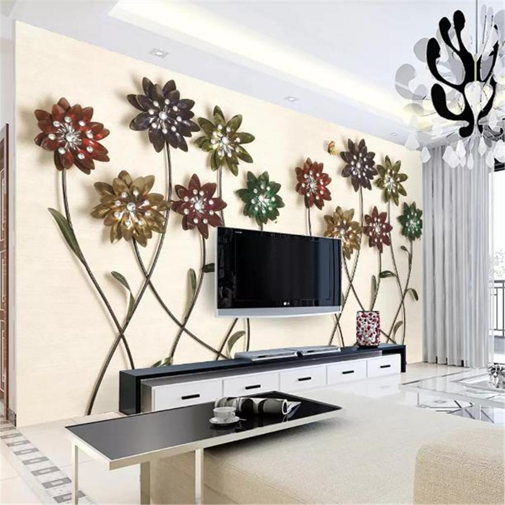 Wallpapers For A Bedroom Custom Wallpaper 3d Flower Butterfly Jewel Indoor Tv Background Wall Decoration Mural Wallpaper