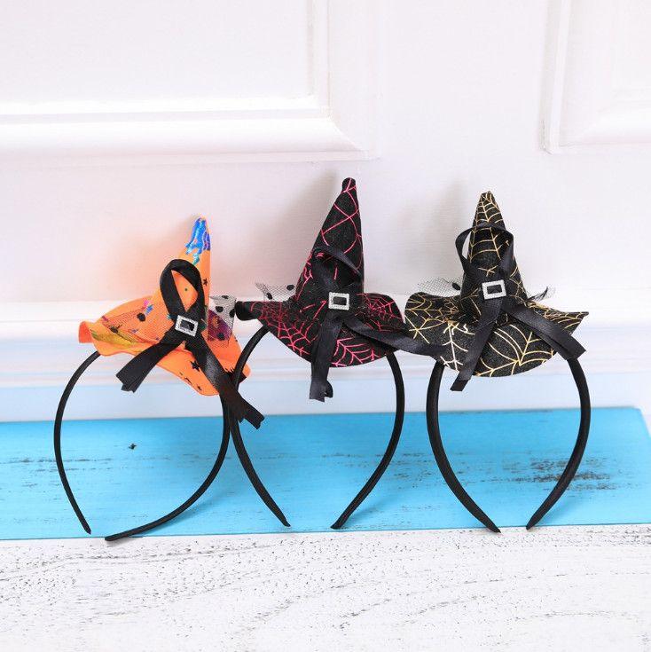 Mini Witch Hat Headband Cobweb Dots Veil Cap Easter Halloween Fancy