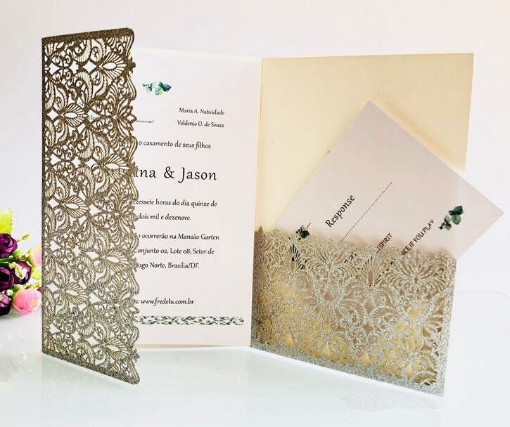 Luxury Champagne Gold Glitter Wedding Invitations Elegant Laser Cut