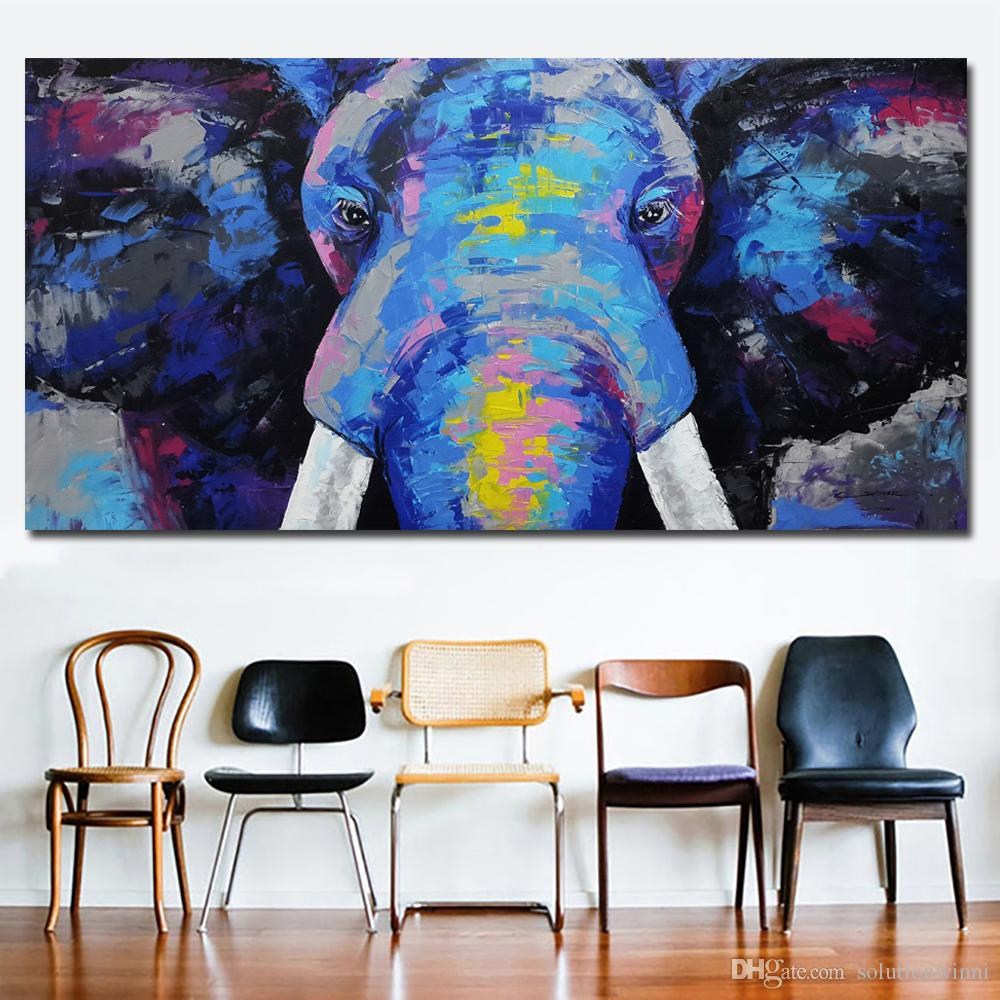 Abstract Art Prints On Canvas 1 Piece Abstract Art Blue Elephant Head Canvas Paintings Wall Art Prints On Canvas Printing Posters Picture For Living Room No Frame