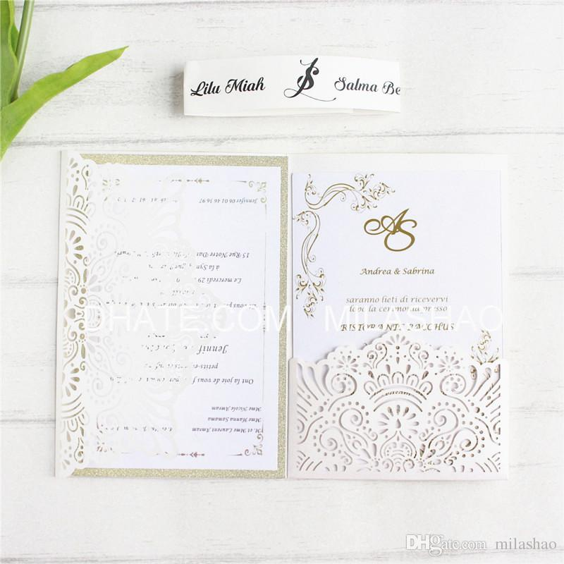 Elegant Wedding Card Invitation Marriage With Glittery Insert Card
