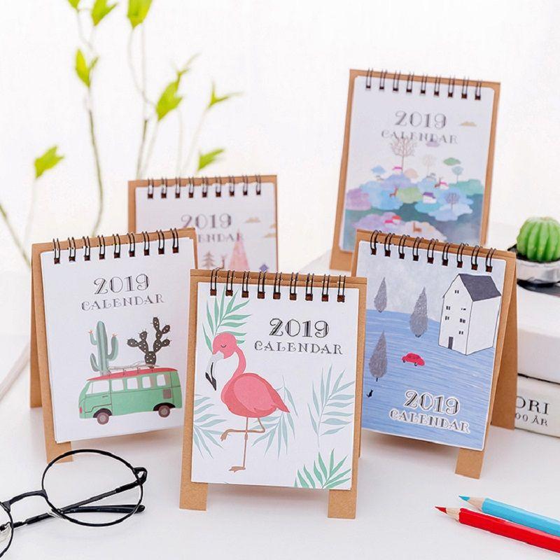 Flamingo Desktop Paper Calendar Hand Drawing Cartoon Mini Calendar