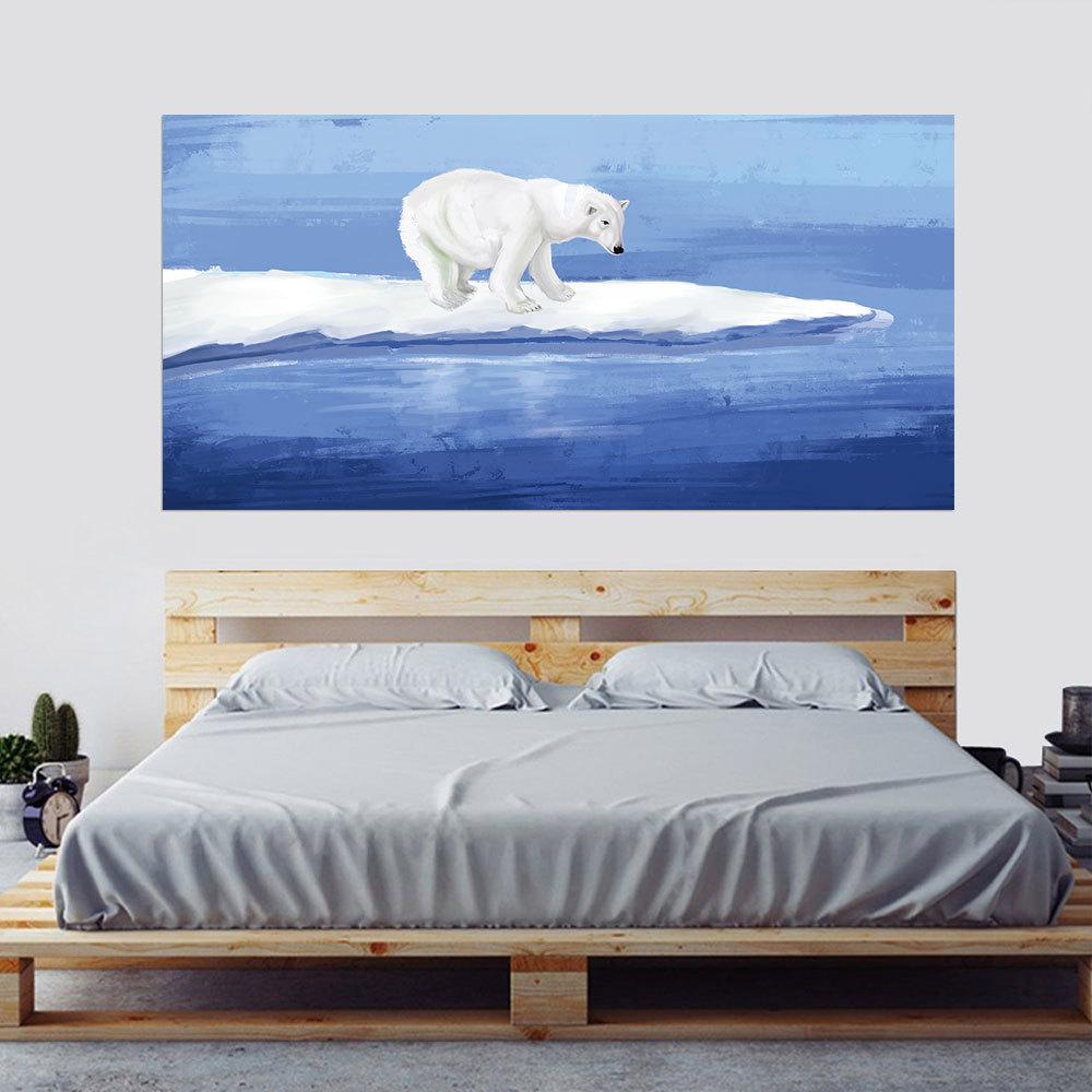 Decoration Chambre Ours Polaire 2pcs Set Aquarelle Ours Polaire Mer 3d Chevet Art Mural Autocollant Décor À La Maison Chambre Tv Canapé Mur Affiche Pvc Animal Mur Autocollant