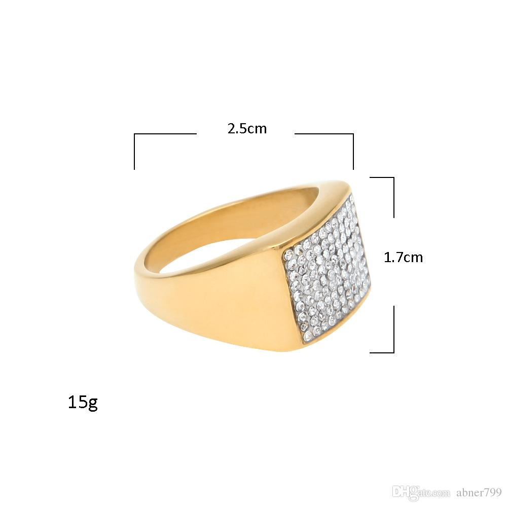 Ebay 1 Euro Euro American Hip Hop Stainless Steel Ring Color Preserving Vacuum Plating Inlaid Drill Men S Finger Ring Ebay Cross Border Hot Selling Jewe