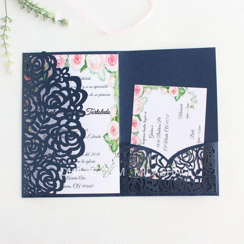 Tri Fold Pocket Rose Wedding Invitation Card With Rsvp Envelope Navy