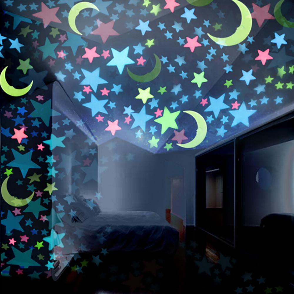 Stars Room Decor 100pc 3d Stars Glow In The Dark Wall Stickers Luminous Fluorescent Wall Stickers For Kids Baby Room Bedroom Ceiling Home Decor 9