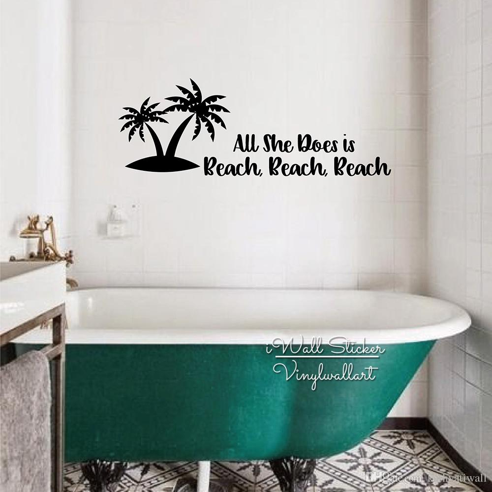 Toilet Wall Art Tile Stickers Beach Quote Wall Sticker Toilet Wall Decal Home Decoration Accessories Beach Holiday Wallpaper Vinyl Stickers Q289