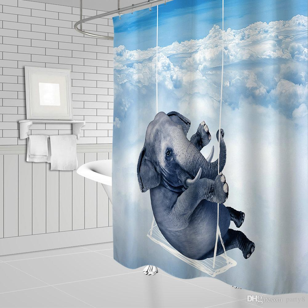 Air Curtain Shower Animal Series Funny Elephant Swing In The Air Bath Shower Curtains 69 X 70 Inch Polyester Waterproof Bathroom Accessories Curtain