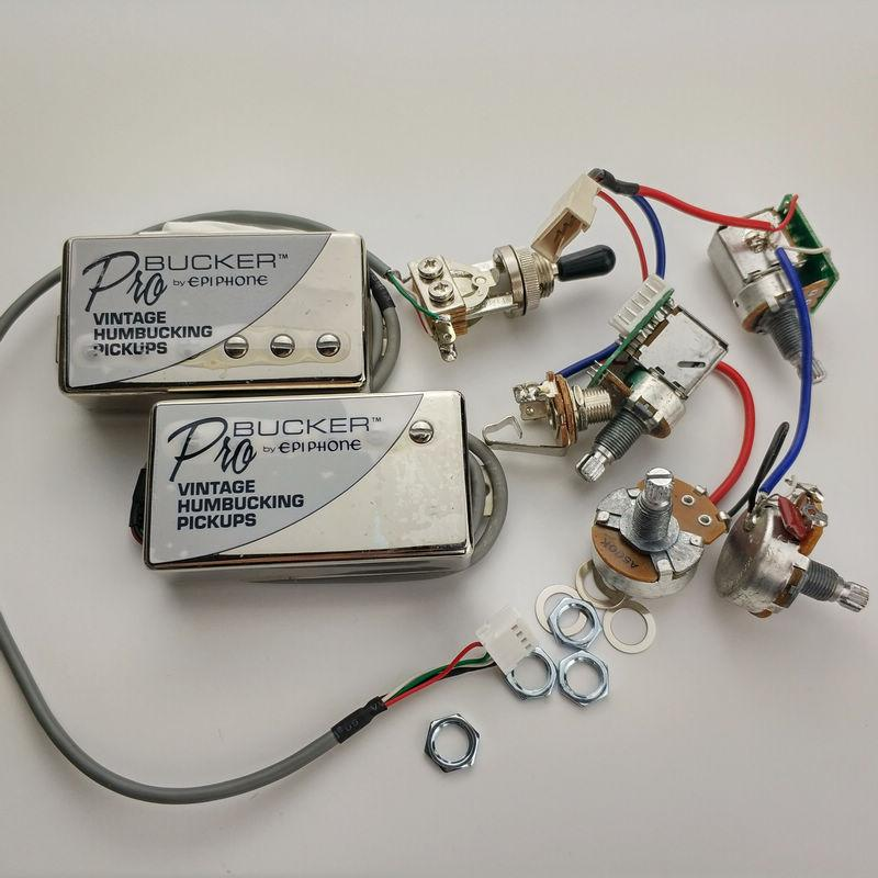 Chrome ProBucker N And B Electric Guitar Pickups with Pro Wiring