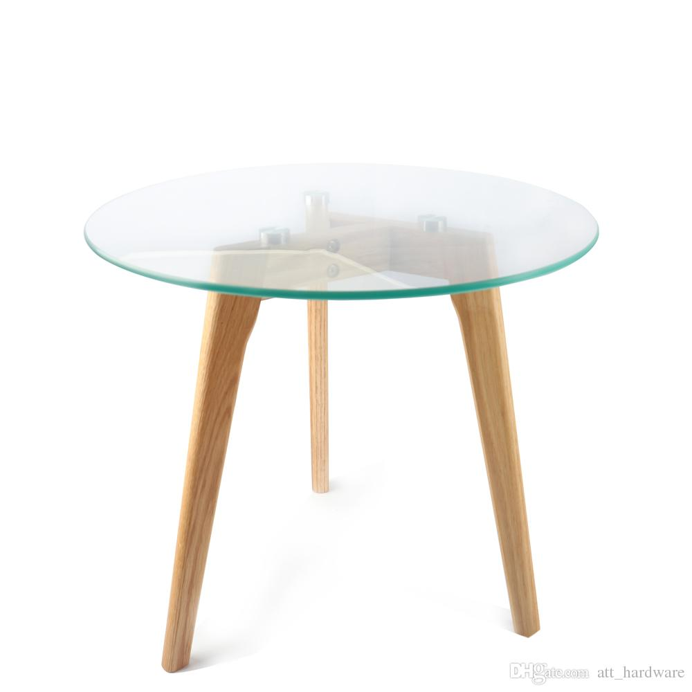 Round Glass Top Coffee Table Round Coffee Table Solid Wood Oak Legs Glass Top Coffee Table In Clear Glass And Oak Effect Veneer
