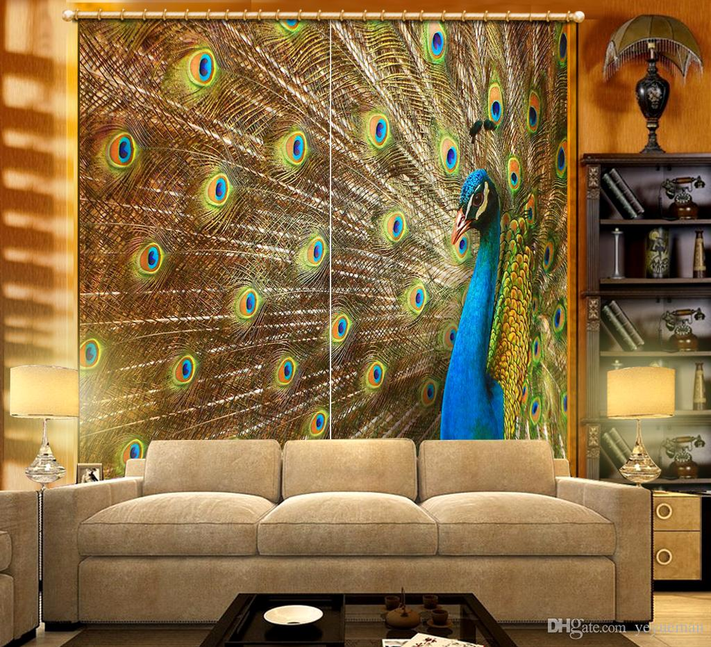 Peacock Living Room Luxury Curtains 3d Photo Printing Curtains For Living Room Blackout Window Curtain Cortinas Peacock Room Drapes