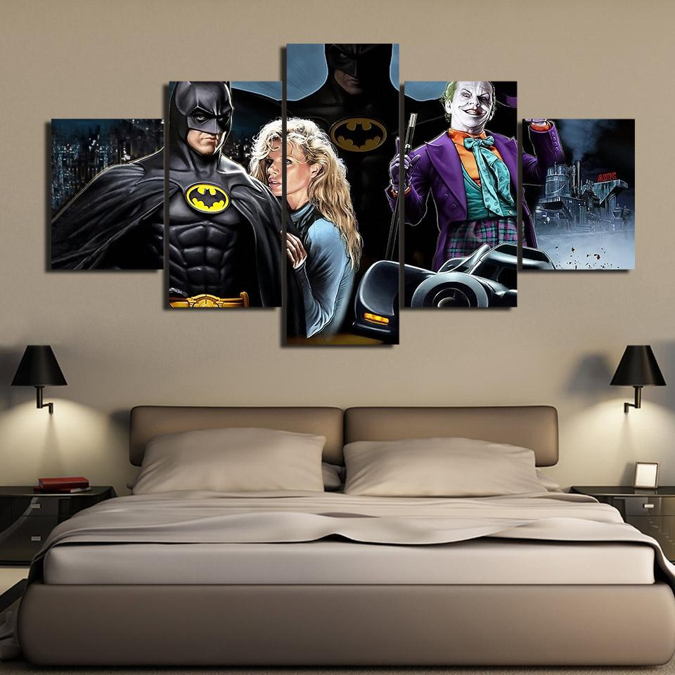 Comic Wall Decor Hd Print 5 Piece Canvas Painting Batman Michael Keaton Comic Posters Wall Art Pictures For Living Room Home Decor