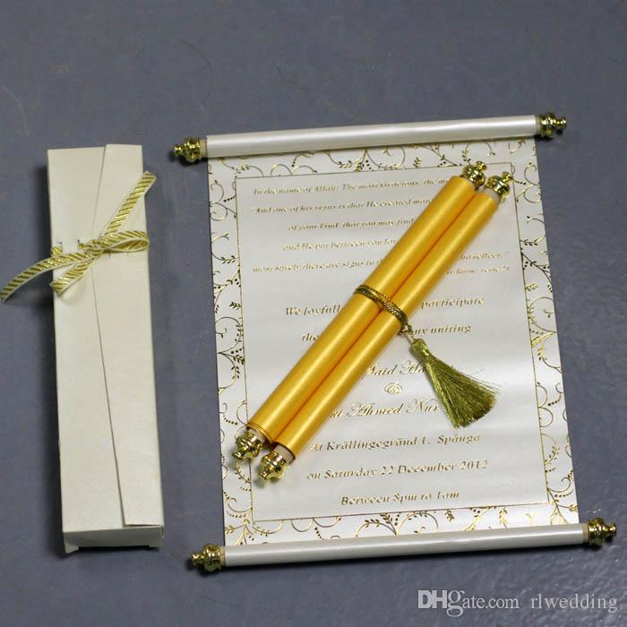 Personalized Wedding Invitation Card With Box,Scroll Birthday Party
