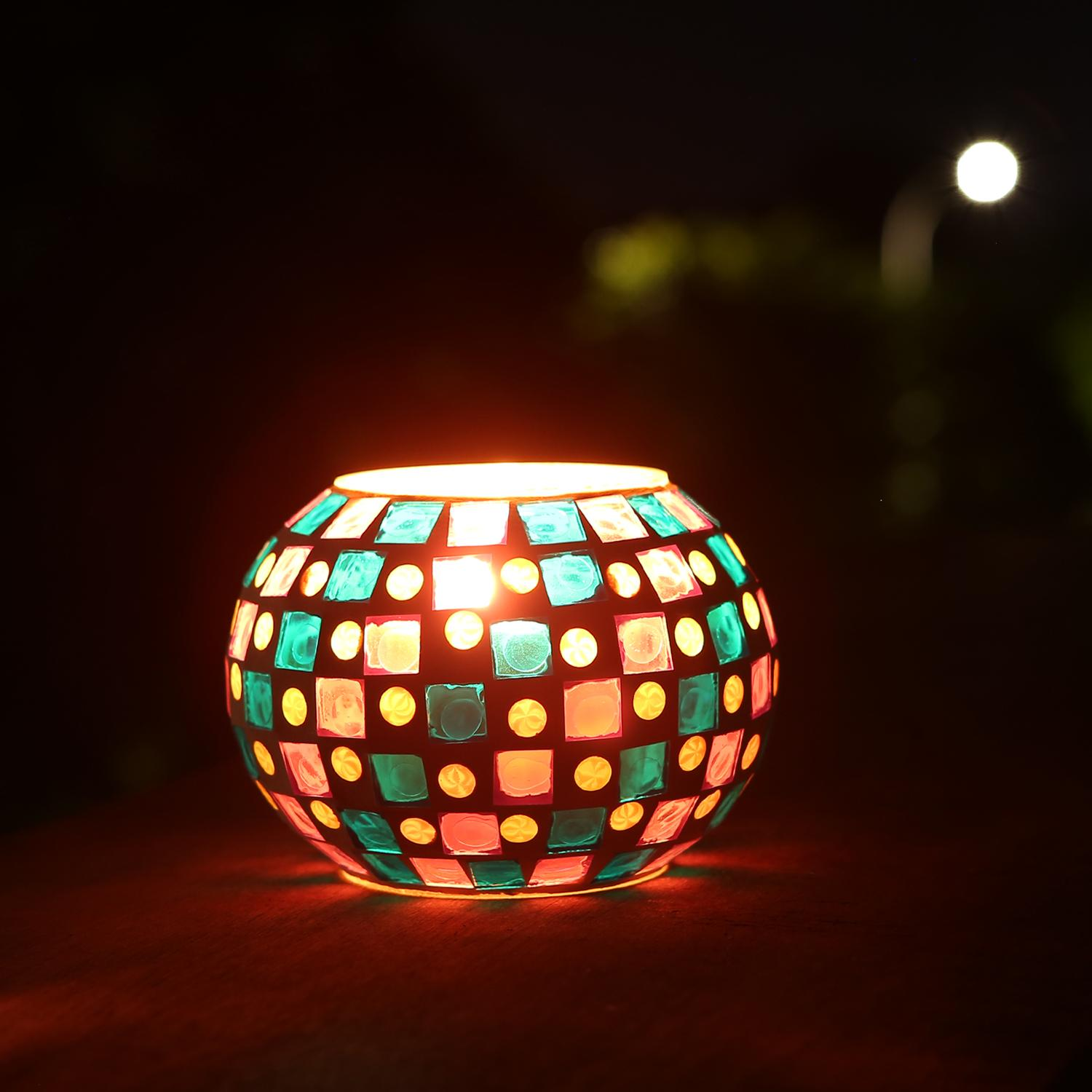 Glass Lamp Bowl Magicnight Color Changing Mosaic Solar Table Light Glass Bowl Small Disco Globe Ball Night Lamp For Garden Patio Porch