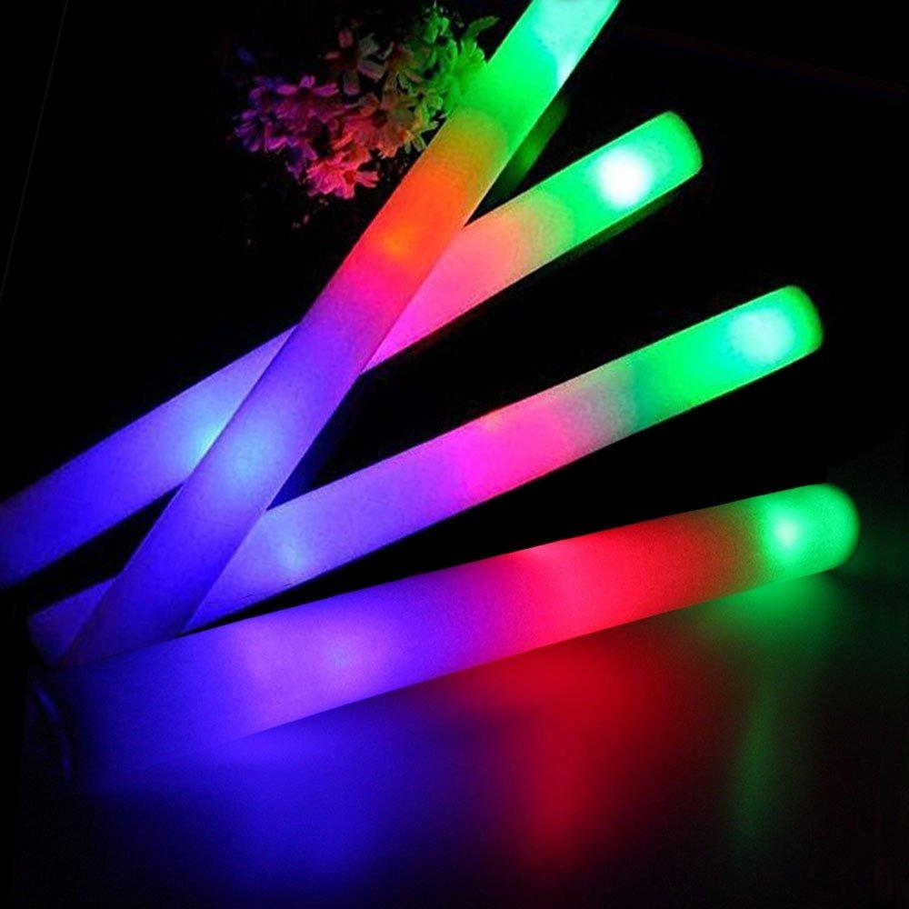 Led Glow Sticks Led Foam Glow Sticks Flash 3 Modes Flashing Multicolor Light Up Batons For Party Supplies Festivals Raves Birthdays Kids Teens Adults Toy