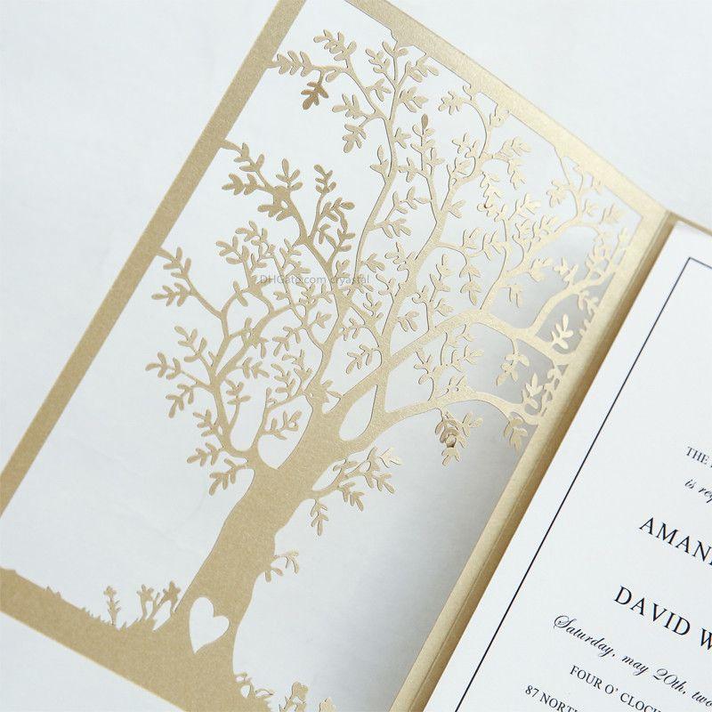 2018 Fancy Gold Love Tree Laser Cut Wedding Invitations Elegant