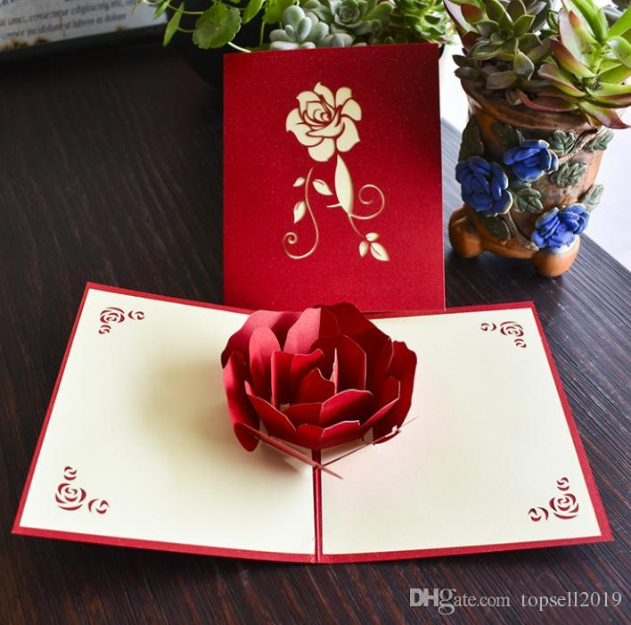 Rose 3D Pop Up Greeting Card Stereoscopic Valentine\u0027S Day Gift